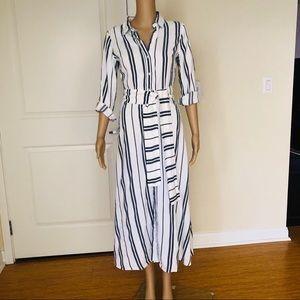 Zara Striped Button Down Wrap Dress